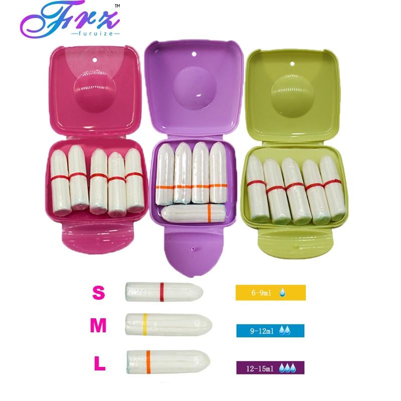 5pcs Sanitary napkin tampons similar Menstrual Cup vagina sanitary pads Portable tampon box Women