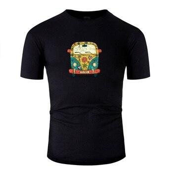 Newest Fitted 70s Cute Hippy Van Design Gift Flowers T Shirt For Men Woman Black Men T-Shirt Streetwear Oversize S-5xl Tee Top