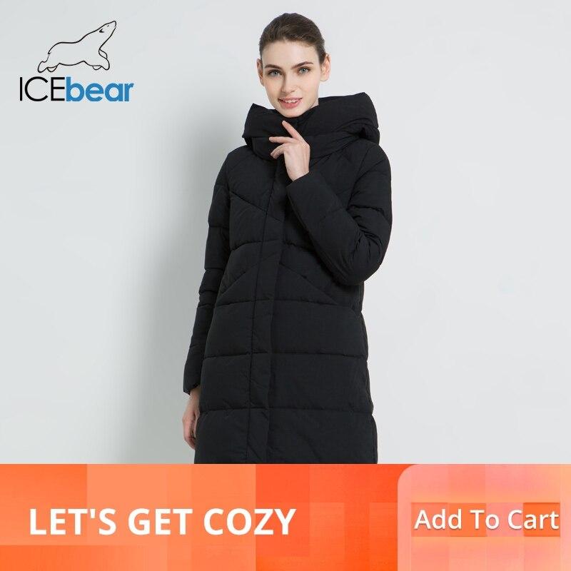 Icebear 2019 새로운 여성 패션 브랜드 파 카 겨울 자 켓 간단한 커 프 스 디자인 windproof 따뜻한 여성 고품질 코트 gwd18150-에서파카부터 여성 의류 의  그룹 1