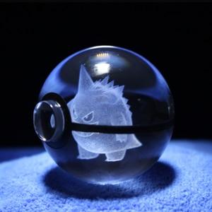 Image 3 - מכירה לוהטת 2 אינץ 50mm קריסטל זכוכית Pokeball Creative חג המולד מתנות לילדים