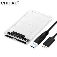 CHIPAL прозрачный 2,5 дюймовый HDD SSD чехол Sata для USB 3,0 адаптер бесплатно 5 Гбит/с Корпус жесткого диска Поддержка 2 ТБ UASP протокол