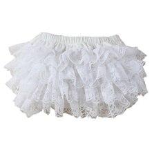 Милые белые кружевные трусы для малышей; шорты с оборками для маленьких девочек; 3 размера; хлопковое нижнее белье для младенцев; штаны для малышей; Чехлы для подгузников