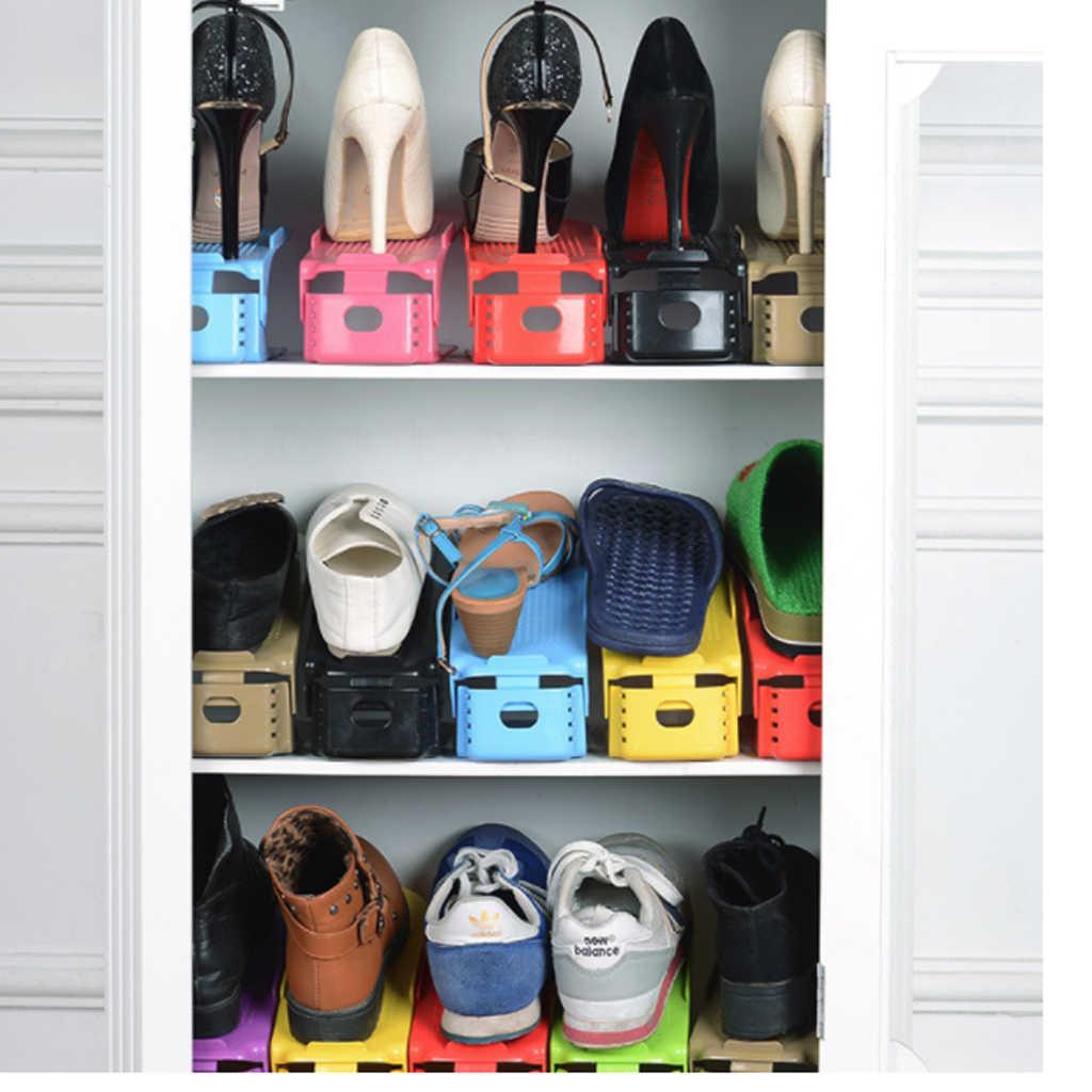 10 stücke Schuh Lagerung Rack Schrank Schrank Stehen Schuhkarton Durable Einstellbare Schuhe Organizer Schuhe Unterstützung Slot Platzsparende