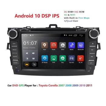 Android 10 2 Din IPS Screen Car Radio Multimedia Player For Toyota Corolla 2007 2008 2009 2010 2011 GPS Navigation with WIFI SWC image