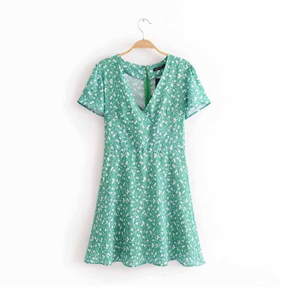 Spring New Style Europe And America WOMEN'S Dress Fashion Small Fresh Elegant Holiday A- line Floral Floral Printed Dress Short