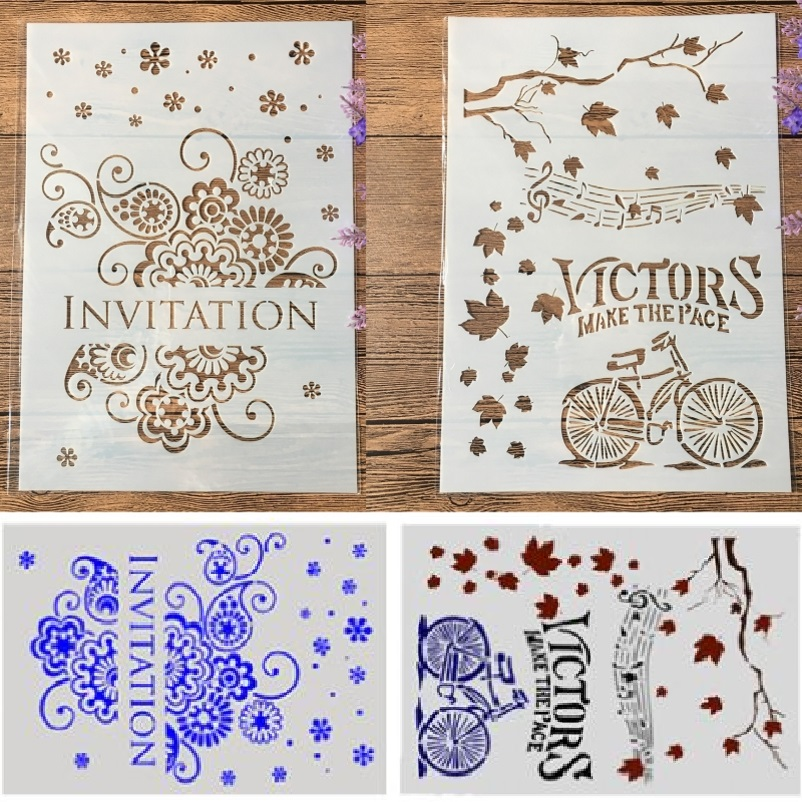 2Pcs/Lot A4 Invitation Bicycle Victor DIY Craft Layering Stencils Painting Scrapbooking Stamping Embossing Album Paper Template