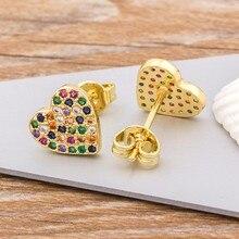 Top Qualität Kupfer Stud Ohrringe Herz Kristall AAA CZ Gold Farbe Schmuck Heißer Verkauf Party Hochzeit Neue Jahr Geschenk für frauen Mädchen