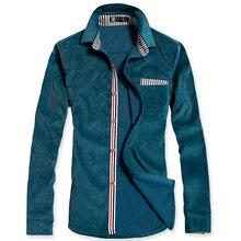 Shirt autumn new mens lapel cotton long-sleeved corduroy shirt S-XXXL business casual slim large size