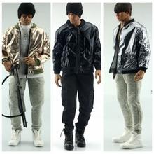 1/6 Scale Male Figure Faux Leather Jacket Men Fashion Coat Baseball Shirt Style Jacket Bright Closing for 12'' Action Figure