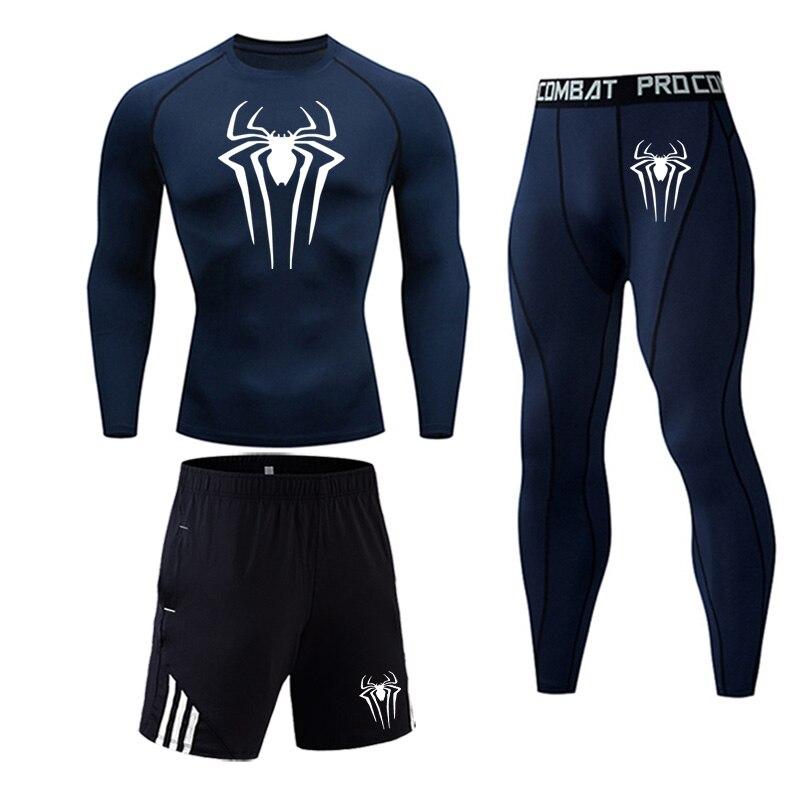 Новый мужской комплект термобелья плотно облегающие спортивные костюмы для мужчин тренировочные кальсоны для фитнеса рубашки для бега