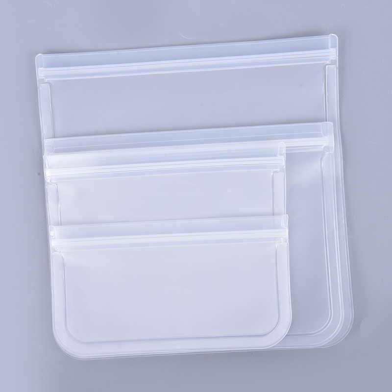 1PC Food Storage Bag Reusable Freezer Bag Leakproof Top Kitchen Organizer Ziplock Silicone Bag