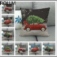 1pcs Linen Series Pillowcase Print Christmas Car Sofa Bed Home Decor Pillowcase Bedroom Christmas Pillow Set  for Christmas uneven wood print linen sofa pillowcase