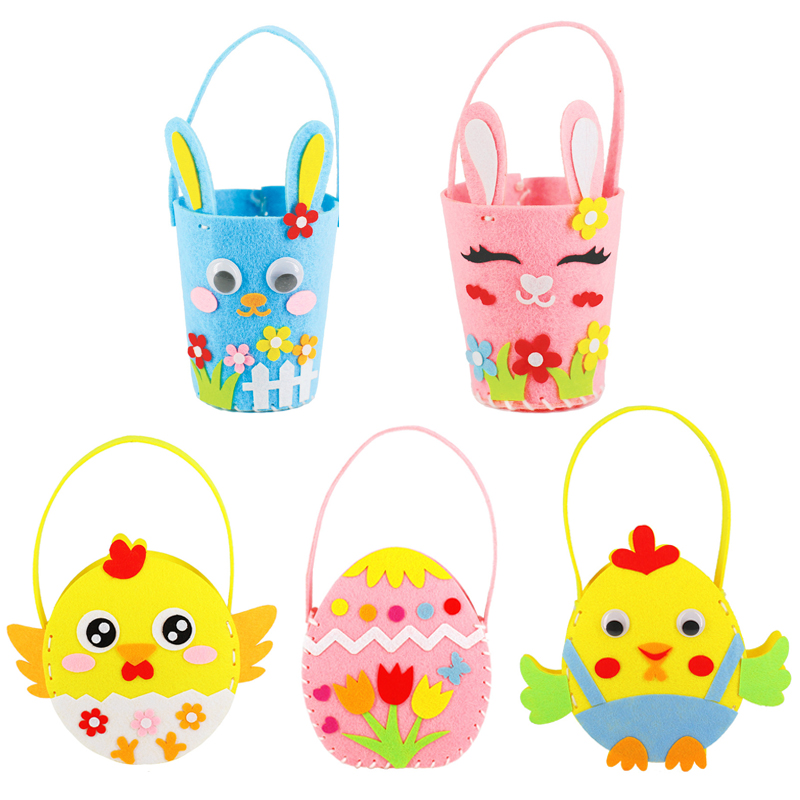 DIY Easter Egg Basket Happy Easter Cute Animal Rabbit Candy Bags Cookie Bags Handmade Material Kids Toys Crafts