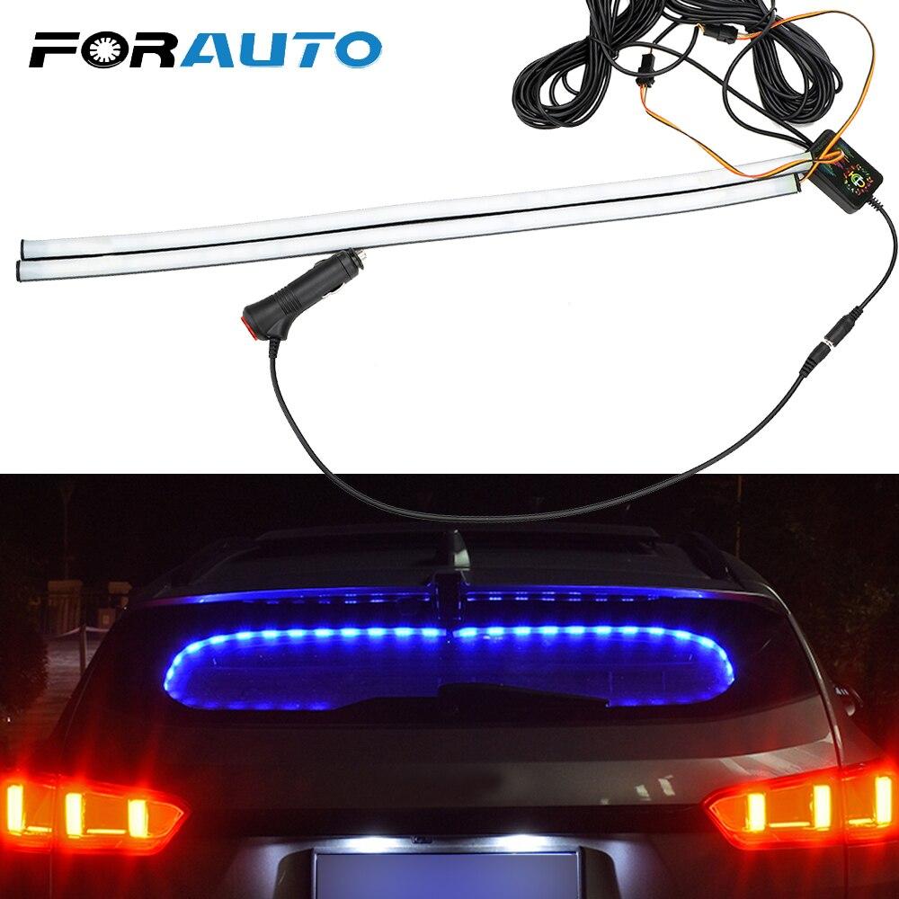 FORAUTO 2pcs/Set Car Rear Window Decorative Light Sound Music Control Auto Atmosphere Lamps Car RGB LED Strip Light Car-styling