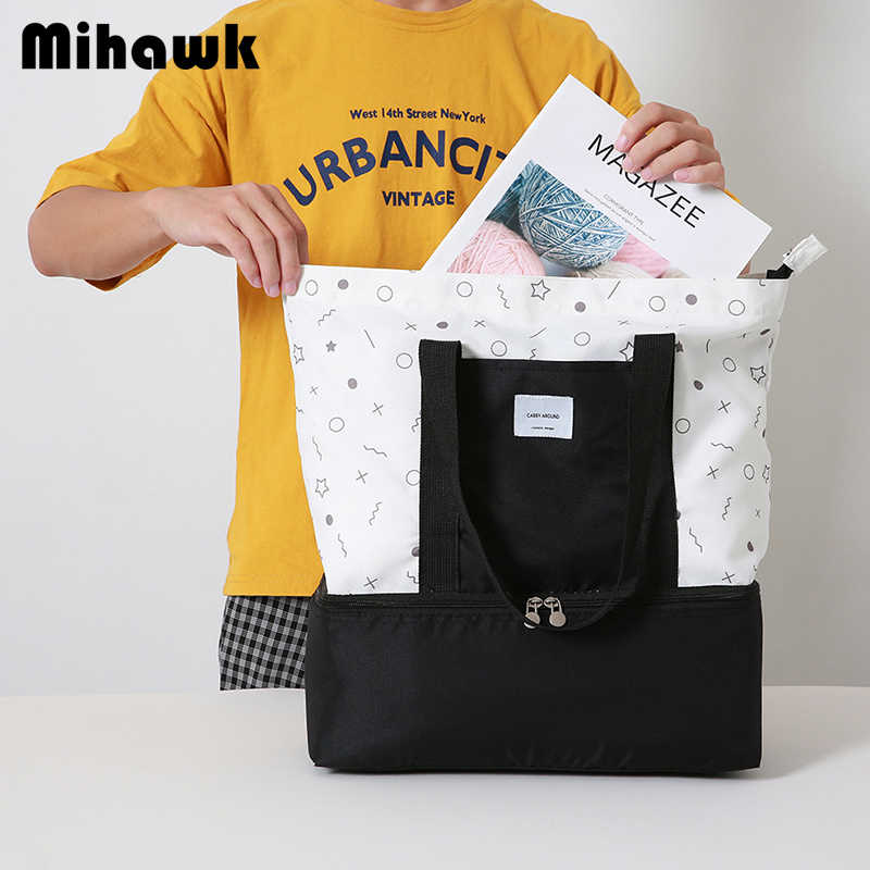 Mihawk Portable Lunch Bag Thermal Insulated Bento Box Tote Travel Cooler Pouch Container School Food Storage Handbag Accessories