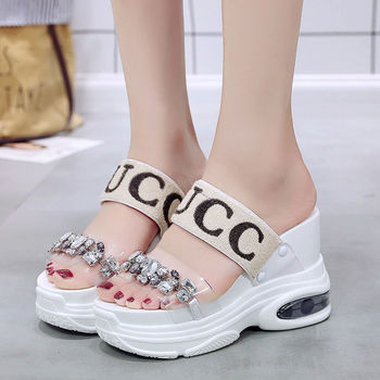 Increased air cushion Women Sandals 2020 New Summer Shoes Women High Heel Peep Toe Sandals Platform Rhinestone Ladies Shoes