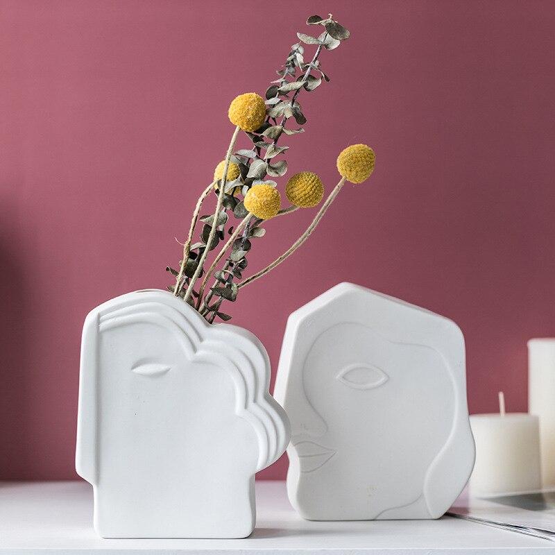 Креатив скандинавский керамический человек лицо ваза маленький бонсай горшок гостиная комната сушеный цветок композиция цветок горшок художник дом украшение