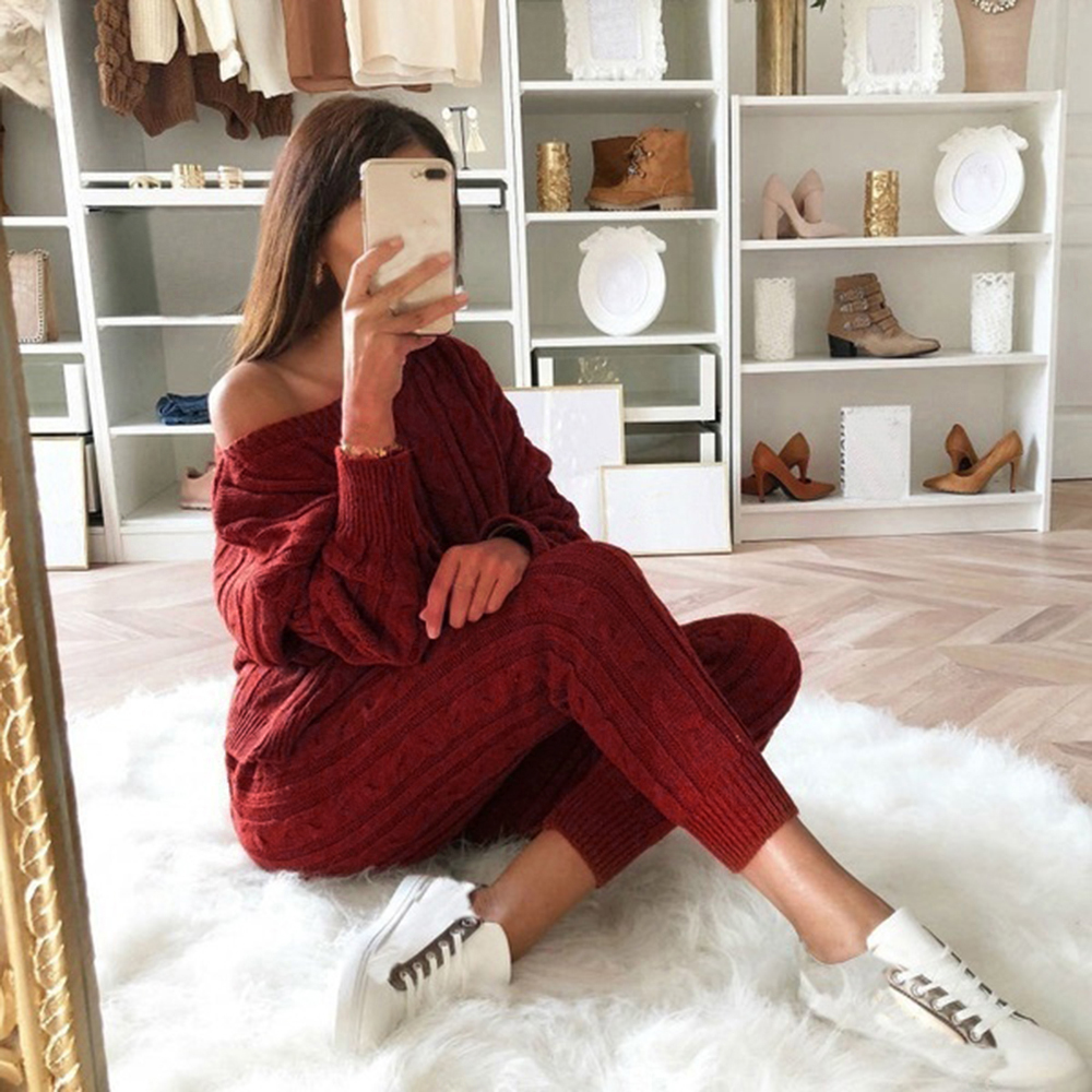 SHUJIN Autumn New Cotton Tracksuit Women 2 Piece Set Sweater Top+Pants Knitted Suit O-Neck Knit Set Women Outwear 2 Piece Set