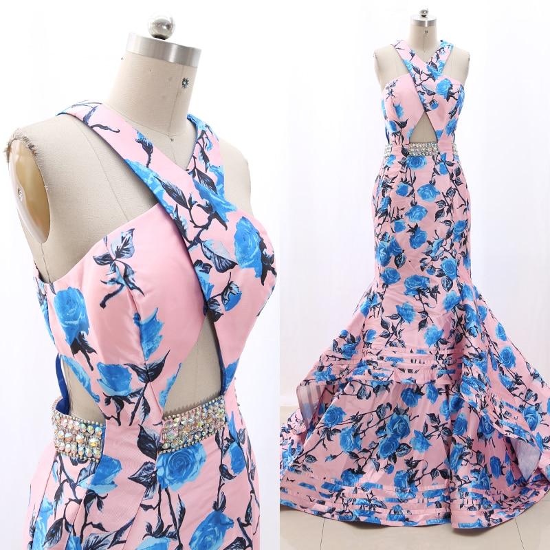 MACloth Pink Mermaid Halter Floor Length Long Crystal Satin Prom Dresses Dress M 268320 Clearance