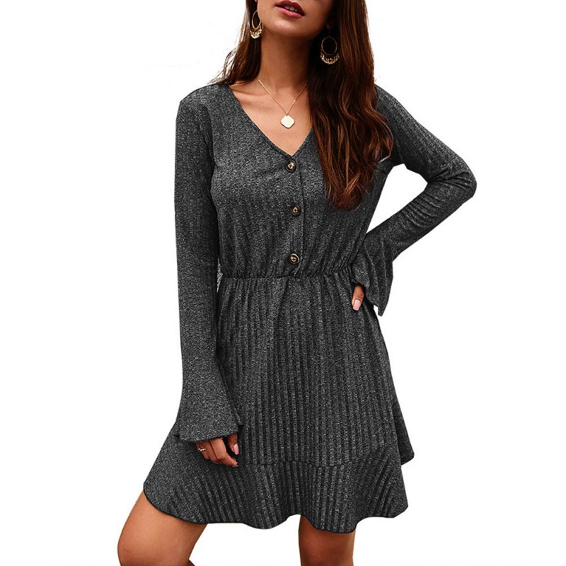 Women Sexy Knit V Neck Long Sleeve Mini Dress Autumn Fashion Ruffle Solid Color Button Dress Slim High Waist Dresses ropa mujer in Dresses from Women 39 s Clothing