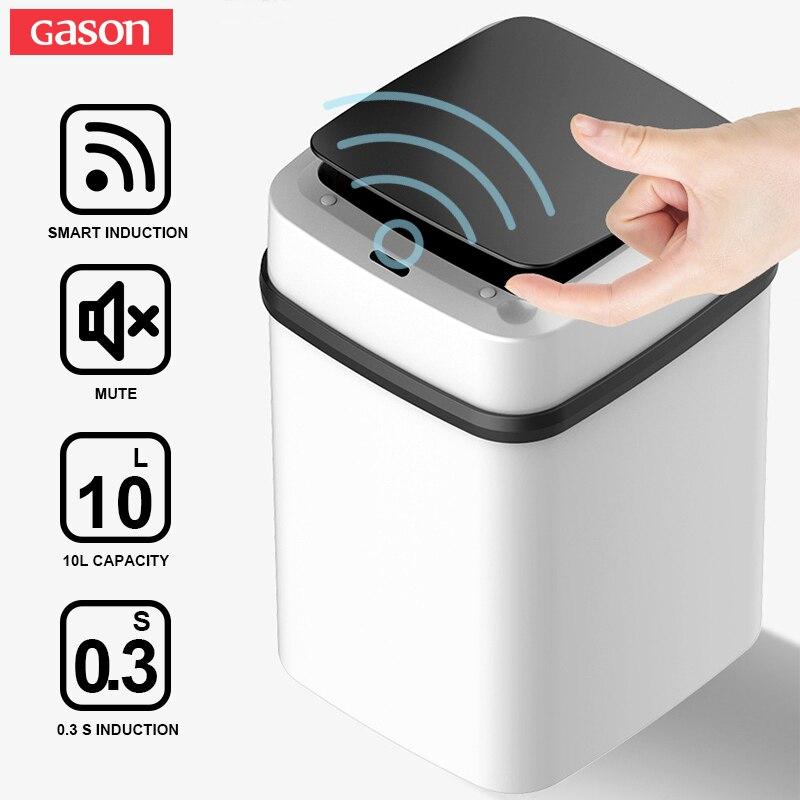 YHJJ Bote de Basura autom/ático sin Contacto de Basura del Sensor de Movimiento Inteligente Cubo de la Basura de la Cocina Papelera Amigable con el Medio Ambiente Color : Light Grey