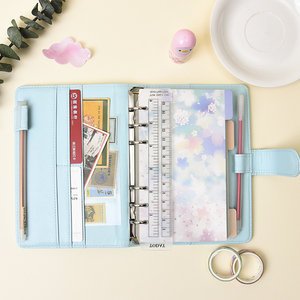 A5/A6 Leather Loose Leaf Refill Notebook Cover Spiral Binder Macaron Colourful Planner Book Replacement Cover Kawaii Stationary