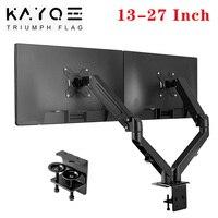 Staffa di montaggio per supporto da tavolo a doppio Monitor da 13-27 pollici schermi LCD rotazione e inclinazione supporto da tavolo a due bracci regolabile carico 6.5kg