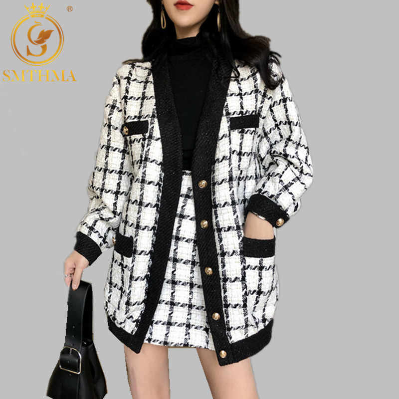 2019 Baru Musim Gugur Musim Dingin Landasan Pacu Plaid Tweed 2 Sepotong Set Wanita Putih Single-Breasted Jaket Mantel + Mini Rumbai campuran Wol Setelan Rok