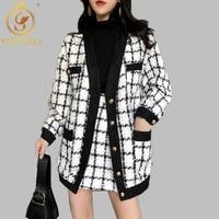 2019 New Autumn winter Runway Plaid Tweed 2 Piece Set Women White Single breasted Jacket Coat +Mini Tassel Wool Blend Skirt Suit