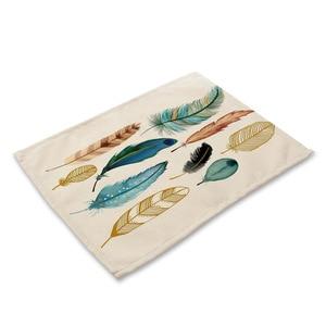 Image 5 - Bird Featherพิมพ์PlacematตารางการรับประทานอาหารMats Pad Coasterตารางผ้ากันน้ำอุปกรณ์ตกแต่งห้องครัวHome Hotel