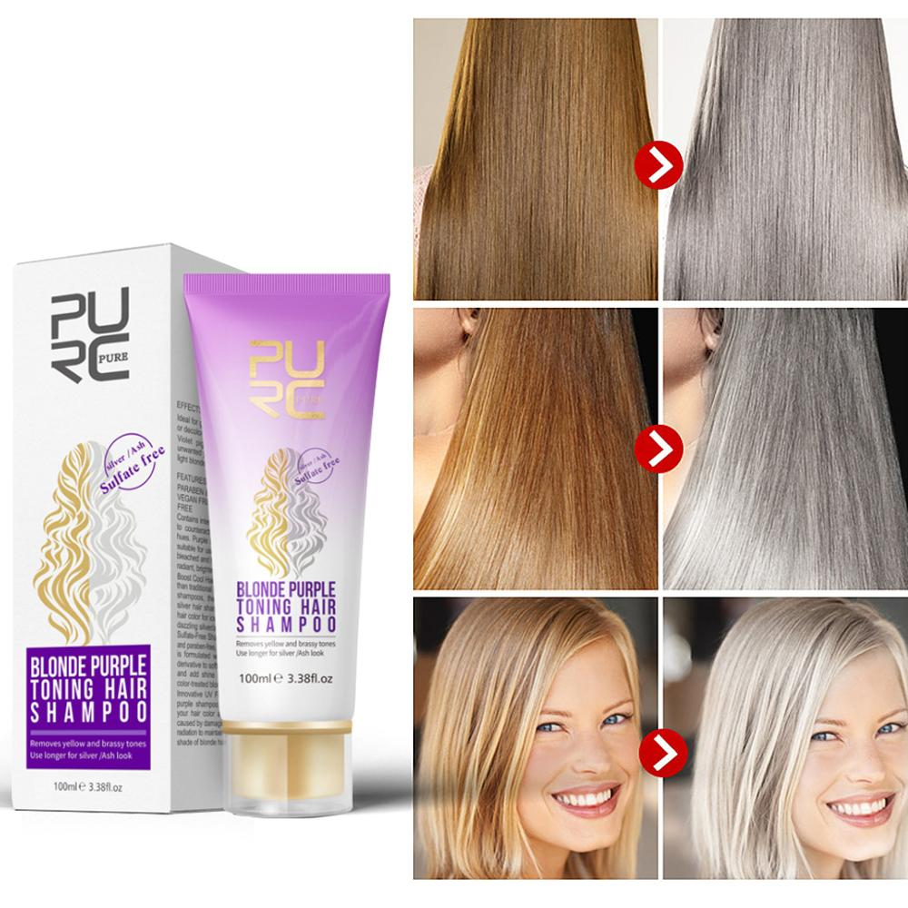 Purple Shampoo Removes Yellow Brassy Tones Of Hair Neutralize Orange Green For Silver Ash Look Salon Home Shampoos Aliexpress