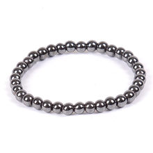 Natural Stone Hematite Magnetic Bracelet Black Beads Therapy Health Care Stretch Bracelet & Bangle Men's Jewelry 6 8 10mm(China)