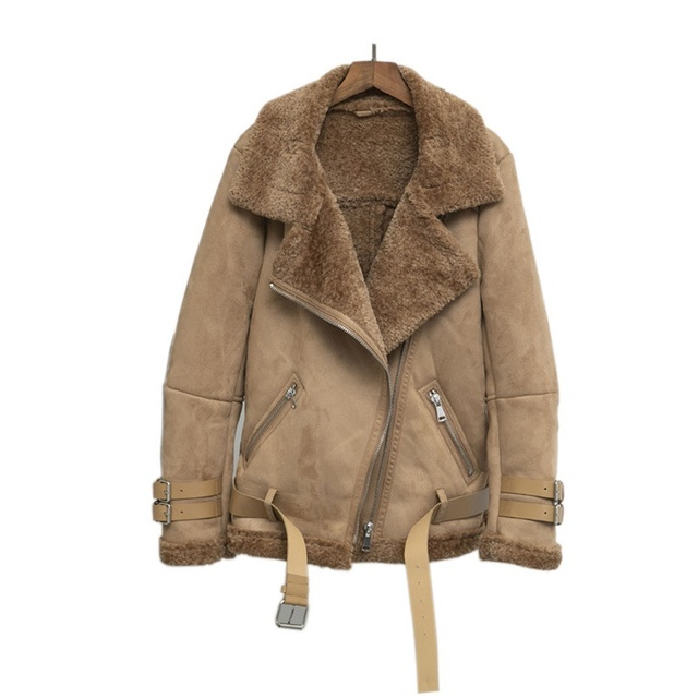 Kobiety zamszowa kurtka futro luźny, gruby ciepły płaszcz ze sztucznej skóry owczej nowe zimowe motocyklowe futro jagnięce jedna kobieta futro kurtka odzież wierzchnia