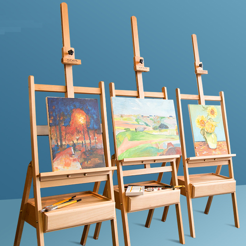 Adjustable Beech Easel for The Artist Painting Sketch Easel Drawing Table Box Oil Paints Easel Table Art Supplies for Painting