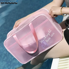 New 2 PCS Waterproof Portable Swimming Storage Bag Transparent Handbags Wash Bags Cosmetic Travel Sack Dry Wet Mesh Net Pool