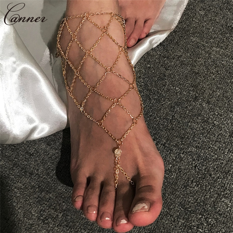 CANNER Exaggerated Hollow Mesh Chains Anklets for Women Gold Color Mesh Chains Leg Bracelet Barefoot Sandals Foot Jewelry Q40 1