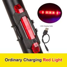 Światło rowerowe wodoodporne tylne światło LED USB akumulator rower górski światło rowerowe Taill Amp ostrzeżenie o bezpieczeństwie światło rowerowe narzędzia tanie tanio Bicycle Light Rama Other Bicycle Rear LED Light Red Blue White 7 5*3*2cm 2 95*1 18*0 79 Plastic USB Charge 4 Modes Long bright Slow flashing flashing in order Strobe
