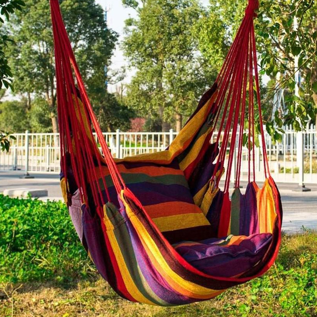 150kg Garden Hang Chair Swinging Indoor Outdoor Furniture Hammock Hanging Rope Chair Swing Chair Seat Portable Camping Seat