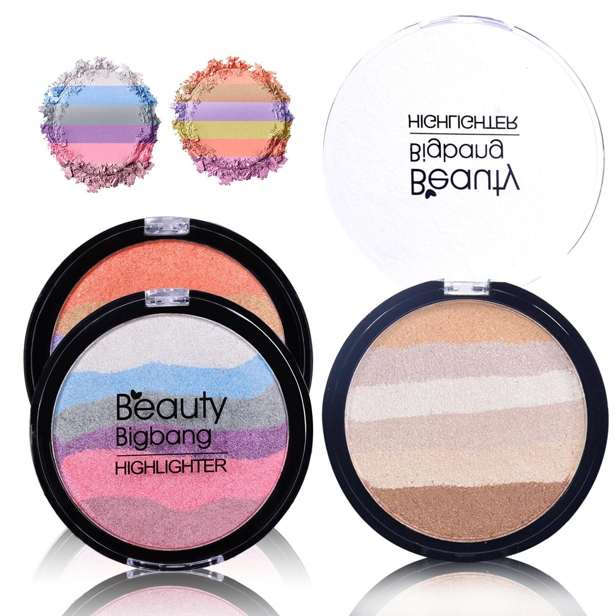 BeautyBigBang Regenbogen Iluminador Highlighter Pulver Gesicht Make-Up Bronzer Contour Weiche Mineral Palette Braun Maquiagem