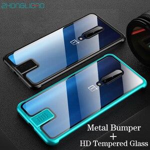 Luksusowy metalowy zderzak etui na telefon do Oneplus 7 Pro 7 6t HD hartowana szklana tylna obudowa One Plus 7 T Pro Coque Slim bezramowa zbroja