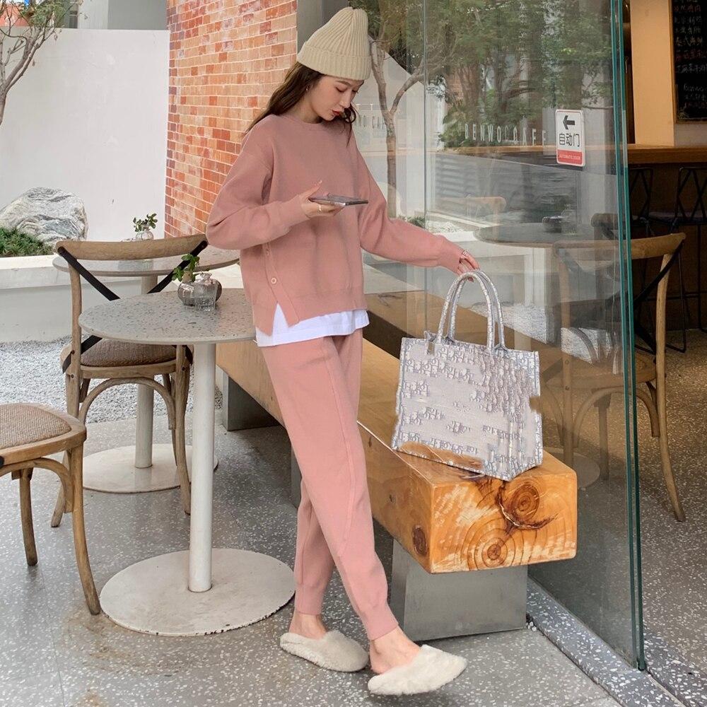 Chic Frauen Pullover Pullover & Elastische Taille Harem Hosen Herbst Winter Weibliche 2 Stück Gestrickte Set
