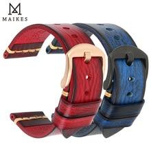 MAIKES Handgemachte Leder Armband Männer Vintage Echtem Leder Uhr Band 20mm 22mm 24mm Für Panerai fossil Casio SEIKO