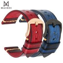 MAIKES اليدوية جلدية حزام ساعة اليد الرجال خمر جلد طبيعي حزام (استيك) ساعة 20 مللي متر 22 مللي متر 24 مللي متر ل بانيراي الأحفوري كاسيو سايكو