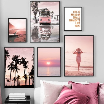 Pink Sunset Beach Coconut Tree Surfboard Wall Art Canvas Painting Nordic Posters And Prints Wall Pictures For Living Room Decor coconut palm tree beach wall art canvas painting nordic landscape posters and prints wall pictures for living room unframed