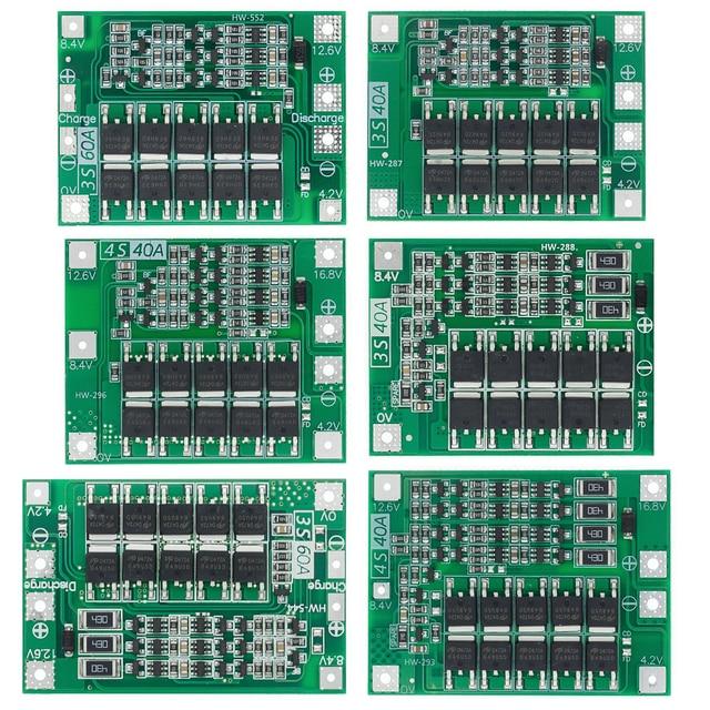 3S/4S 40A 60A 리튬 이온 리튬 배터리 충전기 보호 보드 18650 BMS 드릴 모터 11.1V 12.6V/14.8V 16.8V 향상/균형