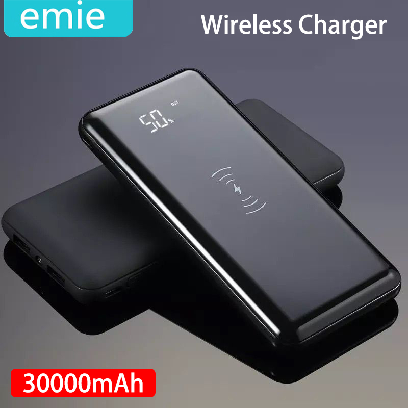 30000mah Power Bank External Battery Bank Built-in Wireless Charger Powerbank Portable QI Wireless Charger For Samsung IPhone XS