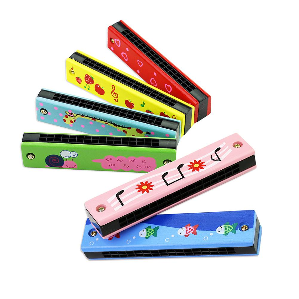 Wooden Harmonica For Children Toys Musical Instruments 16 Holes Double-Row Blow Cartoon Color Woodwind Mouth Harmonica