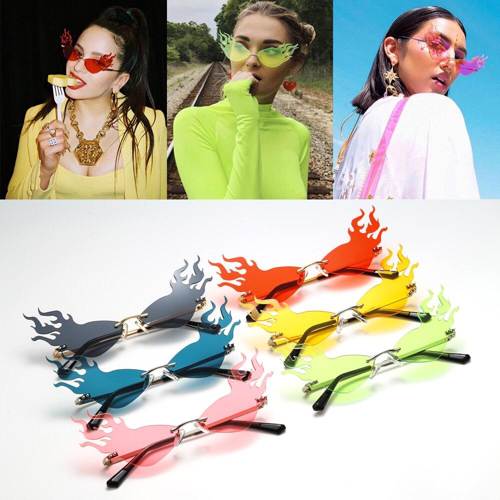 dailymall 3X Gafas de Sol Lentes Brillantes en Forma de Llama de Fuego sin Montura Protecci/ón UV400 para Viaje Playa Conducci/ón