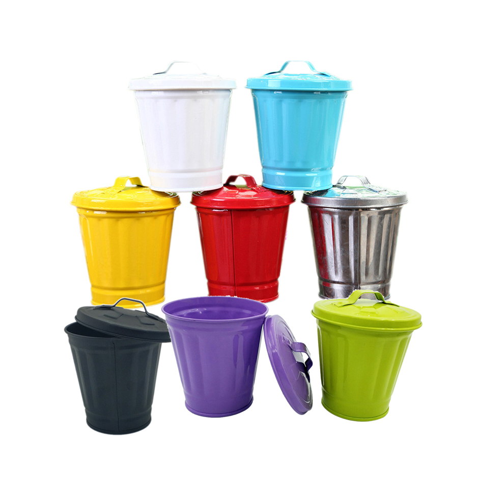 Mini  Trash Can Multifunctional Storage Stationery Iron Pencil Holder