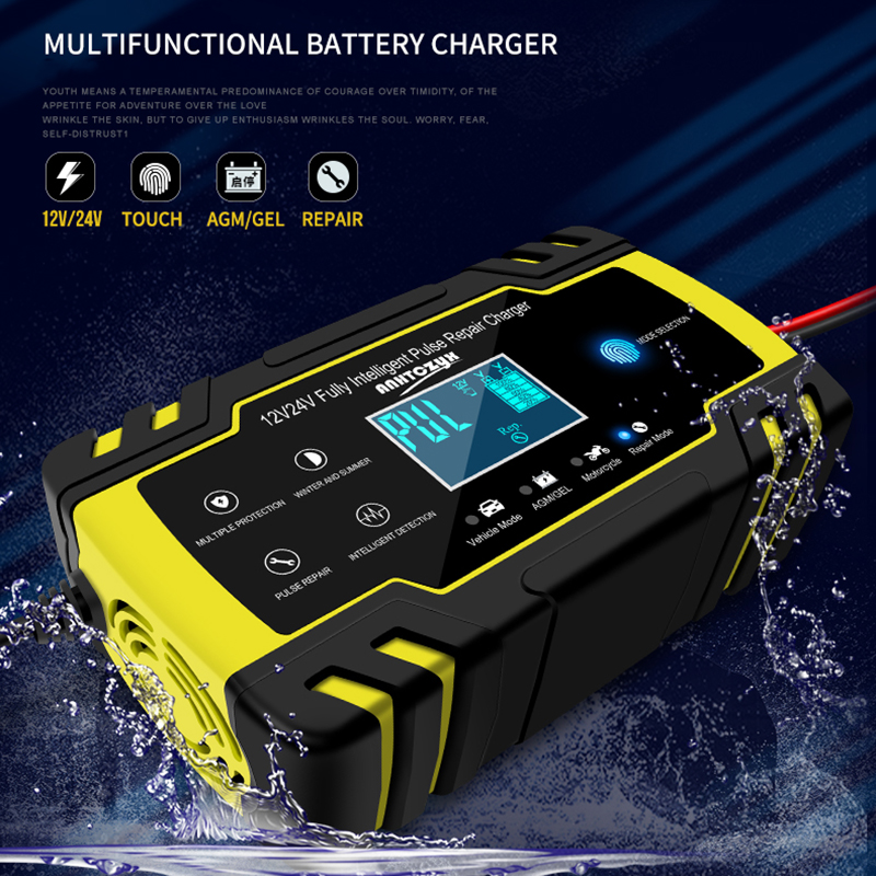 12V/24V 8A Full Automatic <font><b>Car</b></font> <font><b>Battery</b></font> <font><b>Charger</b></font> Power <font><b>Pulse</b></font> <font><b>Repair</b></font> <font><b>Chargers</b></font> Wet Dry Lead Acid <font><b>Battery</b></font>-<font><b>chargers</b></font> Digital LCD Display image